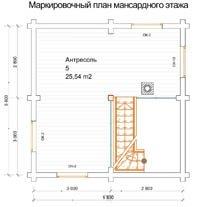 Баня 5,8 Х 5,8 план мансардного этажа