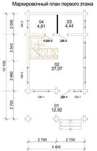 Дом 5,4 Х 10,1 план первого этажа