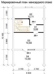 Дом 5,4 Х 10,1 план мансардного этажа