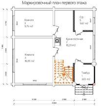 Дом 8 Х 7,4 план первого этажа